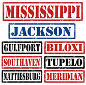 Sellos de las ciudades de mississippi — Vector de stock