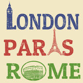 London, Paris and Roma grunge stamps — Stock Vector