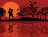 Romantic couple silhouette embrace — Stock Vector