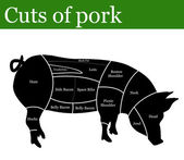 Cuts of pork — Stock Vector