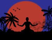 Yoga meditation in lotus pose — Stock vektor
