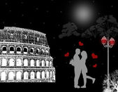 Rome poster with lovers — Stock Photo