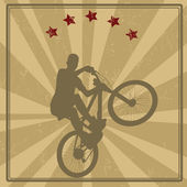 BMX cyclist retro poster — Vector de stock