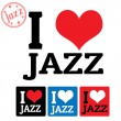 I love Jazz sign and labels — Vettoriali Stock