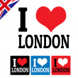 I love London sign and labels — Stock Vector