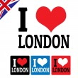 Stock Vector: I love London sign and labels