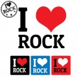 I love Rock sign and labels — Stock Vector