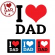 I love Dad sign and labels — Stock Vector