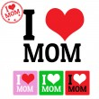 I love Mom sign and labels — Stock Vector