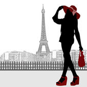 Woman silhouette and Paris skyline poster — Stock Vector