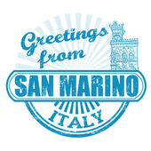 Greetings from San Marino stamp — Stock Vector