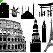 Set of famous buildings — 图库矢量图片