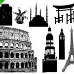 conjunto de edifícios famosos — Vetorial Stock  #32712069