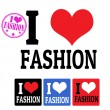 I love Fashion sign and labels — Vettoriali Stock