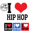 I love Hip Hop sign and labels — Stock Vector