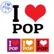 I love Pop sign and labels — Vettoriali Stock