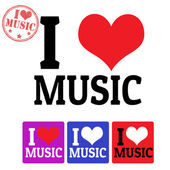 I love Music sign and labels — Stock Vector