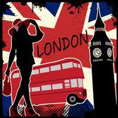 Londen retro poster — Stockvector