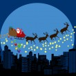 Santa claus and deers silhouettes flying over a city — Imagen vectorial