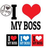 Jag älskar min boss tecken och etiketter — Stockvektor