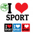 Stock Vector: I love Sport sign and labels