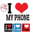 I love my phone sign and labels — Stock Vector