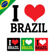 I love Brazil sign and labels — Stock Vector