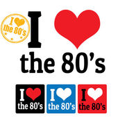 I love the 80's sign and labels — Stock Vector