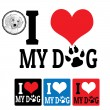 I love My Dog sign and labels — ストックベクタ