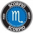 Scorpio zodiac  label — Stock Vector