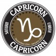 Capricorn zodiac  label — Stockvectorbeeld
