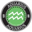 Aquarius zodiac  label — Vektorgrafik