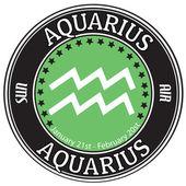 Aquarius zodiac label — Stock Vector