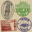 Famous italian cities stamps — Stock Vector