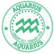Aquarius zodiac grunge stamp — Stock Vector