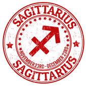 Sagittarius zodiac grunge stamp — Stock Vector