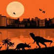 Stock Vector: Dinosaurs Silhouettes in front city scape