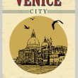 Venice city  in vintage style poster — Stock Vector