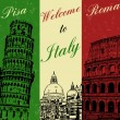 Welcome to Italy vintage poster — Stock Vector #34158155
