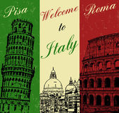 Welcome to Italy vintage poster — Stock Vector