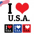I love USA sign and labels — Imagens vectoriais em stock