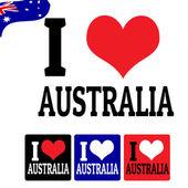 я люблю знак австралии и этикетки — Cтоковый вектор