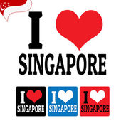 I love Singapore sign and labels — Stock Vector