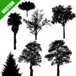 Various trees on white — Stock Vector