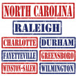 Stock Vector: North Carolina Cities stamps