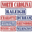 North Carolina Cities stamps — Stock Vector