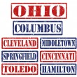 Ohio Cities stamps — Stock Vector