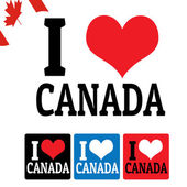 I love Canada sign and labels — Stock Vector