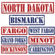North Dakota Cities stamps — Stock Vector