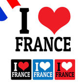 I love France sign and labels — Stock Vector